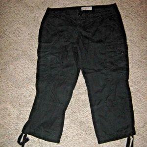 Black Multi Pocket Tie Ankle Cargo Capri Pants 6
